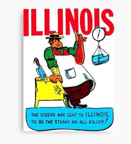 Illinois State Steak Butcher Vintage Travel Decal Canvas Print