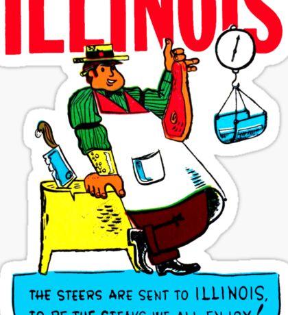 Illinois State Steak Butcher Vintage Travel Decal Sticker