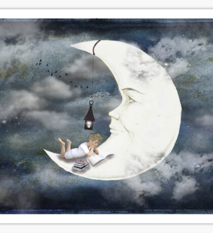 Boy reading book on the moon fairytale illustration Sticker