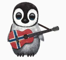 Baby Penguin Playing Norwegian Flag Guitar T-Shirt