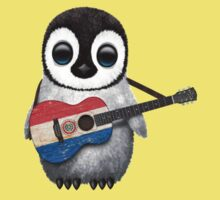 Baby Penguin Playing Paraguay Flag Guitar One Piece - Short Sleeve
