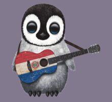 Baby Penguin Playing Paraguay Flag Guitar Kids Tee