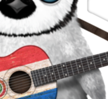 Baby Penguin Playing Paraguay Flag Guitar Sticker