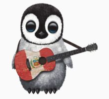 Baby Penguin Playing Peruvian Flag Guitar One Piece - Short Sleeve