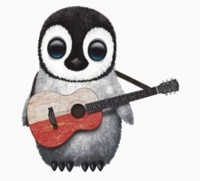 Baby Penguin Playing Polish Flag Guitar Kids Clothes