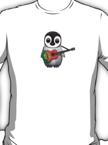 Baby Penguin Playing Portuguese Flag Guitar T-Shirt