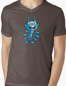 Cute 3-Eyed 6-Armed Blue Alien Mens V-Neck T-Shirt