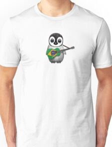 Baby Penguin Playing Brazilian Flag Guitar Unisex T-Shirt