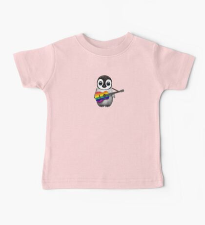Baby Penguin Playing Gay Pride Rainbow Flag Guitar Baby Tee