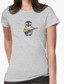 Baby Penguin Playing Gay Pride Rainbow Flag Guitar Womens Fitted T-Shirt