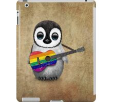 Baby Penguin Playing Gay Pride Rainbow Flag Guitar iPad Case/Skin