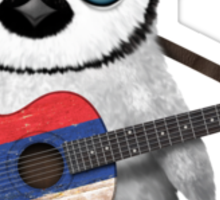 Baby Penguin Playing Serbian Flag Guitar Sticker