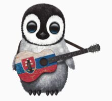 Baby Penguin Playing Slovakian Flag Guitar One Piece - Long Sleeve