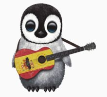Baby Penguin Playing Spanish Flag Guitar Kids Clothes
