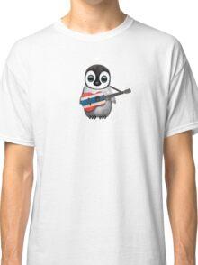 Baby Penguin Playing Thai Flag Guitar Classic T-Shirt