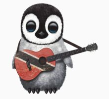Baby Penguin Playing Trinidad and Tobago Flag Guitar Kids Clothes