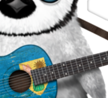 Baby Penguin Playing Turks and Caicos Flag Guitar Sticker