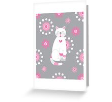 Whimsical White Cat  Greeting Card