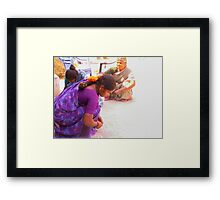 Mapping their village Framed Print