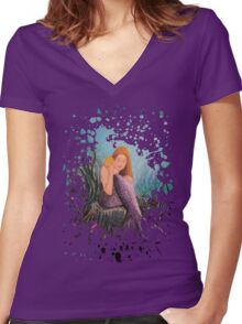 Mermaid Under The Sea Women's Fitted V-Neck T-Shirt