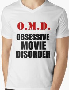 O.M.D. OBSESSIVE MOVIE DISORDER Mens V-Neck T-Shirt