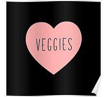 I Love Veggies Heart Black Poster