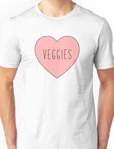 I Love Veggies Heart White Unisex T-Shirt
