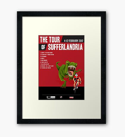 Official Tour of Sufferlandria 2017 Poster - MALE Rider Framed Print