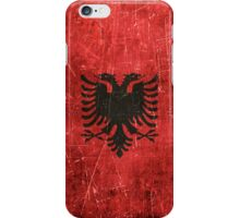 Vintage Aged and Scratched Albanian Flag iPhone Case/Skin