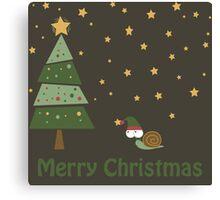 Snail Christmas Scene Canvas Print