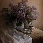 Still life with fresh lilac and dishes by JBlaminsky