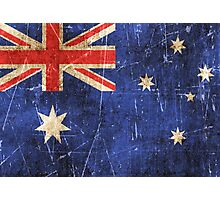 Vintage Aged and Scratched Australian Flag Photographic Print