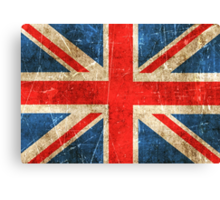 Vintage Aged and Scratched British Flag Canvas Print