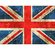 Vintage Aged and Scratched British Flag Photographic Print