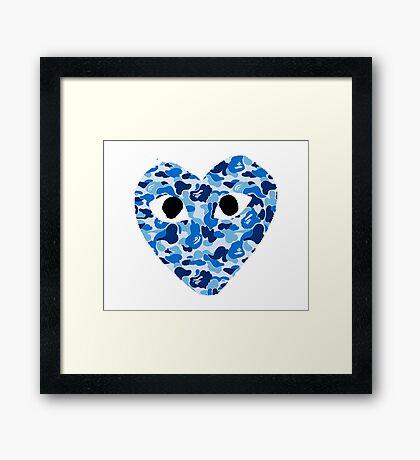 CDG BLUE CAMO Framed Print