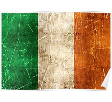 Vintage Aged and Scratched Irish Flag Poster