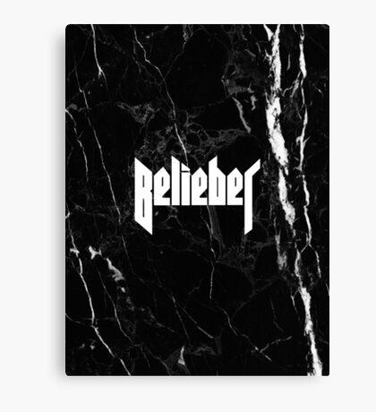 Belieber - Black & White Marble Canvas Print