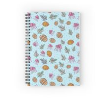 Seamless pattern with  shell, coral, jellyfish, bubble Spiral Notebook