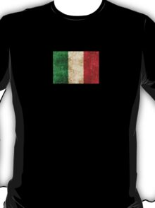 Vintage Aged and Scratched Italian Flag T-Shirt