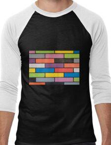 background image of colourful brick wall Men's Baseball ¾ T-Shirt
