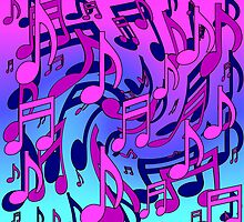 Music Notes Blue Purple Aqua Pink Pattern by M Sylvia Chaume