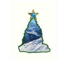 Christmas Tree Snow Scene Art Print