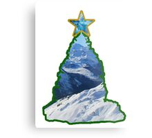 Christmas Tree Snow Scene Metal Print
