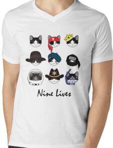A Cat Living Nine Lives (w/ Text) Mens V-Neck T-Shirt