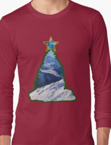 Christmas Tree Snow Scene Long Sleeve T-Shirt
