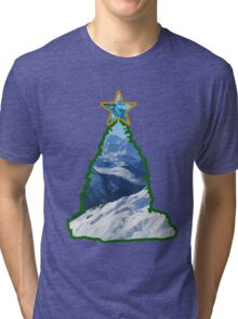 Christmas Tree Snow Scene Tri-blend T-Shirt