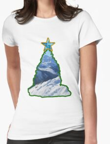 Christmas Tree Snow Scene Womens Fitted T-Shirt
