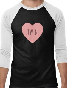 I Love Twin Heart Black Men's Baseball ¾ T-Shirt