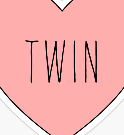 I Love Twin Heart Black Sticker