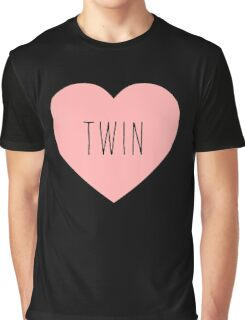 I Love Twin Heart Black Graphic T-Shirt